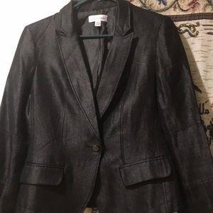 A shimmering black blazer